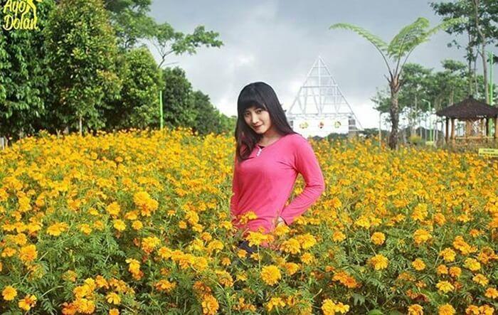 berfoto cantik di kebun bunga Margomulto, salah satu objek di lingkungan wisata gunung kelud