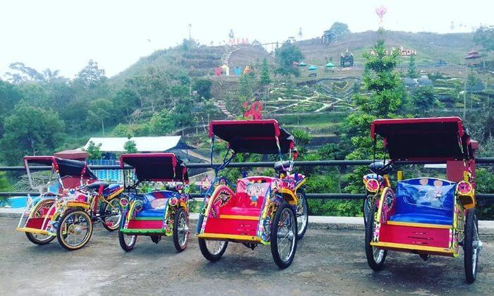 Becak Anak mini, salah satu fasilitas penunjang wisata anak di palalangon park