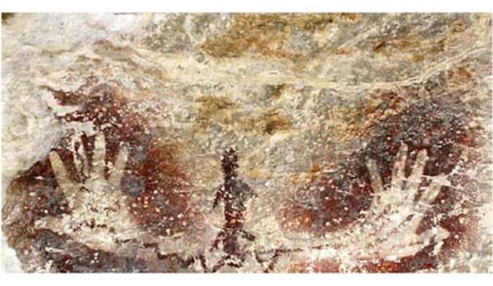 Gambar Tangan tokek dalam 1 formasi diperkirakana dalah gambar yang melambangkan leluhur
